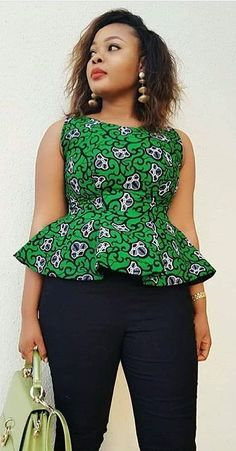 Collection of the most beautiful and stylish ankara peplum tops of 2018 every lady must have. See these latest stylish ankara peplum tops that'll make you stun African Fashion Ankara, Ghanaian Fashion, Latest African Fashion Dresses, African Dresses For Women, African Print Dresses, African Print Fashion, African Attire, African Prints, African Women