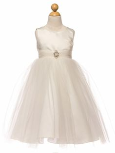 Ivory Satin & Tulle Dress w/ Rhinestone Brooch