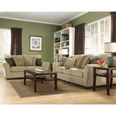 Putty Living Room Set A very comfortable style. Coordination of light green and brown.A very comfortable style. Coordination of light green and brown. Living Room Color Schemes, Living Room Green, Paint Colors For Living Room, Living Room Sets, Living Room Interior, Living Room Designs, Colour Schemes, Color Palettes, Living Area