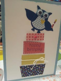Happy Birthday Card (Stampin' Up! owl punch)