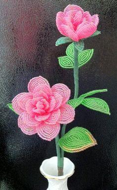Flower Stem Pink Rose by artofbeads on Etsy