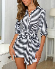 Shop Striped Knotted Front Button Shirt Dress right now, get great deals at joyshoetique Dresses For Teens, Simple Dresses, Pretty Dresses, Casual Dresses, Dresses For Work, Elegant Dresses, Sexy Dresses, Summer Dresses, Formal Dresses