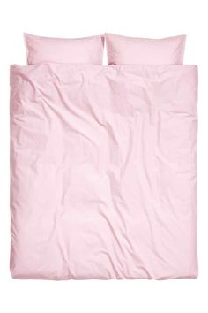 Washed cotton duvet cover set: Double duvet cover set in fine-threaded cotton in 30s yarn with a thread count of 144. Two pillowcases. The fabric has been washed to give it an extra-soft, silky feel.
