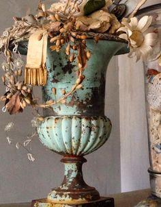 Lovely blue urn filled with vintage swag French Decor, French Country Decorating, French Collection, Garden Urns, Vintage Interiors, Architectural Salvage, My New Room, Decoration, Shabby Chic Decorating