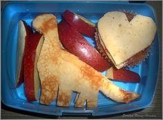 Pancake Strawberry sandwich shaped into a dinosaur