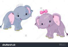 Two Cute Babies Elephants Stock Vector Illustration 54822763 : Shutterstock