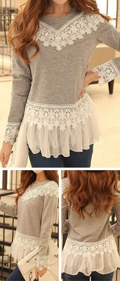 Long Sleeve Lace Panel Grey Blouse.