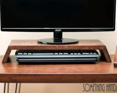Reclaimed Pine Desk & Monitor Stand Solid Wood by Kowoodworksltd