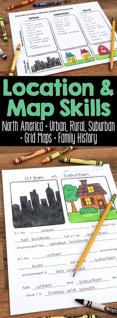 A Location and Map Skills Social Studies Unit that teaches students about North American landforms, urban, rural, and suburban communities, grid maps, and family history. A perfect unit for first, second, and third grades. #socialstudies #mapskills #urbansuburbanrural 3rd Grade Social Studies, Social Studies Lesson Plans, Kindergarten Social Studies, Social Studies Classroom, Social Studies Activities, History Classroom, Teaching Social Studies, Elementary Social Studies, Teaching Map Skills