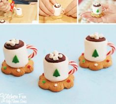 Christmas Treats - Hot Cocoa Marshmallow Cookie Cups - Kitchen Fun With My 3 Sons Christmas Tea Party, Christmas Snacks, Xmas Food, Christmas Cooking, Christmas Goodies, Christmas Candy, Christmas Ideas, Christmas Class Treats, Christmas Baking For Kids