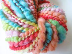 Saltwater Taffy Handspun Art Yarn Coily Ply by RainbowTwistShop, $48.75