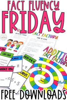 Make mastering basic math facts fun for kids with fact fluency Friday! These ideas and 2nd Grade Math Games, Kindergarten Math Activities, Second Grade Math, Teaching Math, Third Grade, Teaching Time, Homeschool Math, Teaching Activities, Kindergarten Classroom