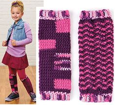 I've seen the mismatched socks, so how about leg warmers too! free pattern