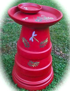 DIY Birdbath From Terra Cotta Pots....Made a few years ago, must do again!