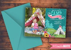 Girls Camping theme birthday party - boho teepee - wild one - tribal - flowers - pink - teal aqua blue - olive lime green - photo invitation - personalized printable digital file - tent - sleepover - fall birthday for girl - glamping party