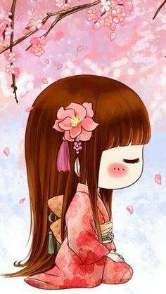 Japanese Quilts, Japanese Art, Girl Cartoon, Cute Cartoon, Anime Chibi, Kawaii Anime, Geisha Art, Manga Cute, Chibi Girl