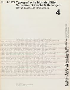 TM SGM RSI, Typografische Monatsblätter, issue 4, 1974. Cover designer: Wolfgang Weingart