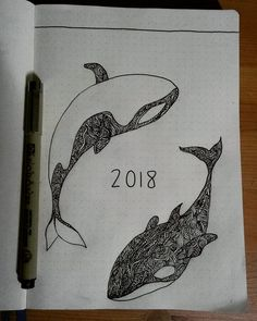 Bullet journal yearly cover page, whale drawing. | @brineey987