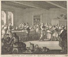 Jan Luyken | Uitdelen van voedsel aan de armen, Jan Luyken, Jacobus van Hardenberg, Jacobus van Nieuweveen, 1700 | Na een maaltijd delen de eerste christenen het resterende voedsel uit aan de armen van de gemeenschap.