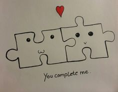 You Complete Me Cute Drawing