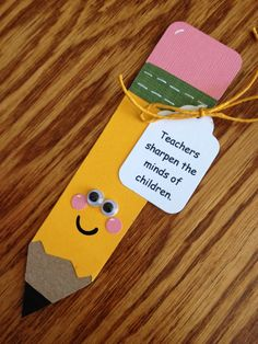 Teacher cards - gift cards to accompany the new pencil sharpeners the PTO bought the teachers at the beginning if the school year I cut them using the Simply Charmed Cricut Cartridge Charm Teacher Appreciation Cards, Teacher Cards, Teacher Gifts, Teachers Day Gifts, Happy Teachers Day Cards, Bookmark Craft, Diy Bookmarks, Bookmark Ideas, Corner Bookmarks