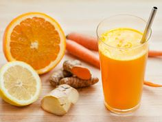 Anti-inflammatory Juice: Turmeric Tonic Ingredients:1 piece turmeric (4-5 inches or more); 1 piece ginger (2-3 inches); 5 carrots; 2 lemons; 1 orange; 1 cucumber; 1/4 tsp. cayenne pepper powder; 1 tbsp. holy basil (fresh or powder - if using fresh, use 2 tbsp.)