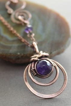 Jewelry OFF! Copper necklace with woven round pendant and amethyst stone on chain and decorative clasp – Gemstone necklace – Pendant necklace – boho chic natural jewelry gemstone jewelry wire-wrapped pendant Copper Necklace, Amethyst Necklace, Copper Jewelry, Wire Jewelry, Gemstone Jewelry, Beaded Jewelry, Jewelry Necklaces, Pendant Necklace, Natural Jewelry
