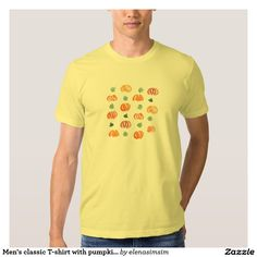 Men's classic T-shirt with pumpkins and leaves