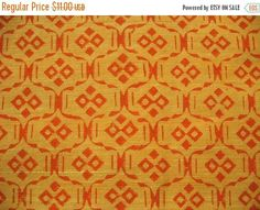 This listing is for geometric pattern block print homespun cotton fabric also known as khaddar / khadi (a coarse but not scratchy homespun cotton cloth) Width of the fabric is 49 inches. Color of the fabric is yellow and burnt orange khadi fabric is made by hands by using unbleached cotton. Khadi fabric was much advocated by Gandhi to promote cottage industry in India. Virtually every politician in india wears khadi fabric. To view more cotton fabrics like this one go here http:/&#x...