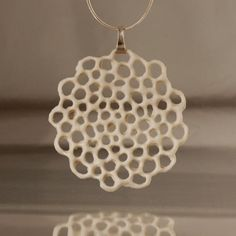 porcelain and silver necklace - .Hanako. floral ceramic pendant, organic ceramics. Designed and crafted by Wapa Studio.