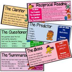 Job cards for reciprocal teaching