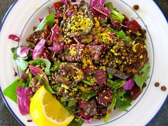 Beet, Cabbage, and Lentils: Eating the rainbow has never been so much fun. Take advantage of the season's sweet red beets and crisp cabbage and add eggplant bacon (yes, bacon). Get the recipe for beet, cabbage, and lentil salad here.