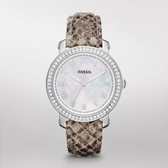 Fossil Emma Leather Watch – Snake Print