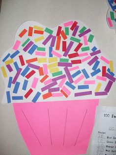 100th Day - Count out 100 sprinkles and also write a recipe for their cupcake (how many of each color)