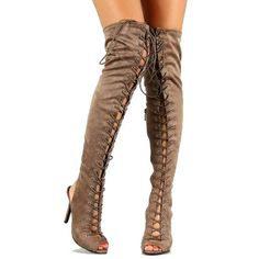 Taupe #Suede Peep toe Over the Knee  #Boots Stiletto #Heels http://www.cutesyoriginals.com/product/randi-23-black-taupe-suede-peep-toe-thigh-high-lace-up-boots-stiletto-heels/
