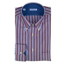 Shirts - GIODI'S - Camicia in cotone, vestibilità regolare - Rigata Bordeaux Blu e Bianca. €21,00. #hallofbrands #hob #camicia #shirt