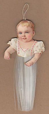 Antique Victorian Christmas Diecut Ornament Baby Child Spun Glass Comet German!