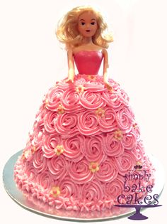 Barbie doll cake with pink piped buttercream rosettes TUTORIAL: http://youtu.be/ML77cLQ46ik