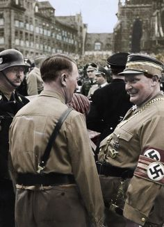 "troyfromportmacquarie: ""SS Chief Heinrich Himmler, Hitler and Hermann Göring. Martin Bormann in profile between Hitler and Göring. The armband with three stripes Göring is wearing is the one he wore during his assignment as Oberster SA-Führer..."