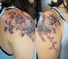 Chronic Ink Tattoo - Toronto Tattoo. Vintage flowers tattoo on the shoulder cap, done by Karen.