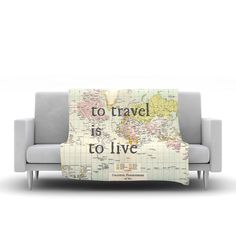 """Catherine Holcombe """"To Travel Is To Live"""" Color Map Fleece Throw Blanket"""