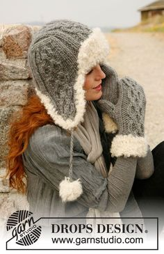"Free pattern: Knitted DROPS hat and mittens in ""Eskimo"" or ""Andes"" with fur edge in ""Puddel"". ~ DROPS Design:"