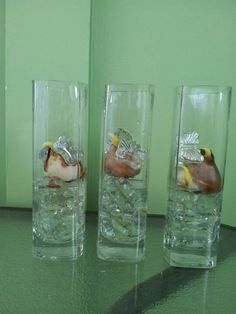 Trying to grow tulips inside in glass containers surrounded by glass beads let's see if this works.