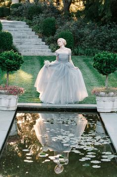 The Ashford Estate // floral design: Reverie Events @Kristin Polhemus ➳ R E V E R I E™ Events // gray tulle 'Marie Antoinette' wedding gown: Sareh Nouri // photo: By Millie B Photography