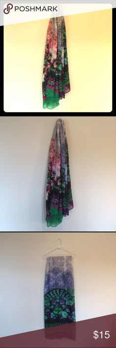 Desigual Scarf. One Size. Rectangular scarf by Desigual. Colors are white, blue, red, and green. Desigual Accessories Scarves & Wraps