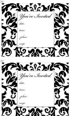 Free Printable Damask Invitation Place Cards And Menu