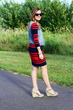 Blue & Red striped dress, denim vest, wedges. Loving it for my maternity style. // maternity fashion.