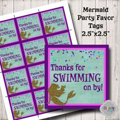 Mermaid Party Favor Tags - HT017 - Birthday Party, Party Favors, DIY Party, Under the Sea, Swimming, Instant Download by ChevellyDesigns on Etsy