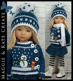 """Sold for $108.06 on 11/1915.  Winter Outfit #2 for Little Darlings Dianna Effner 13"""" by Maggie & Kate Create"""