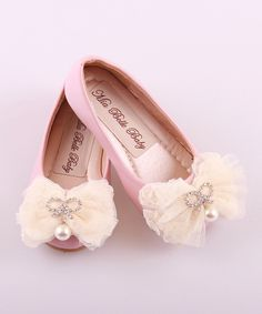 Mia Belle Baby Pink Pendant Bow Ballet Flat by Mia Belle Baby #zulily #zulilyfinds